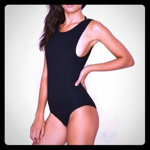 Black Backless Bodysuit